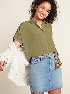 Oversized Soft-Woven Cropped Short-Sleeve Shirt for Women