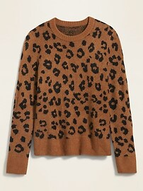 Cozy Leopard-Print Crew-Neck Sweater for Women