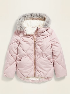 Frost-Free Faux-Fur Lined Hooded Puffer Jacket for Girls