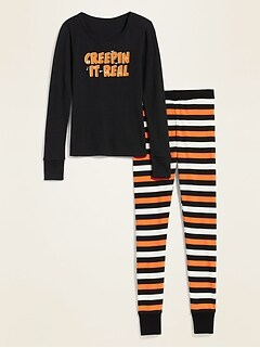 Halloween Graphic Pajama Set for Women