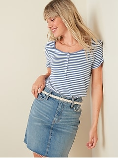 Relaxed Striped Scoop-Neck Henley Tee for Women