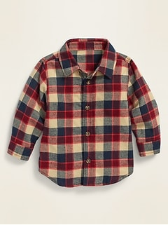 Unisex Plaid Twill Shirt for Baby