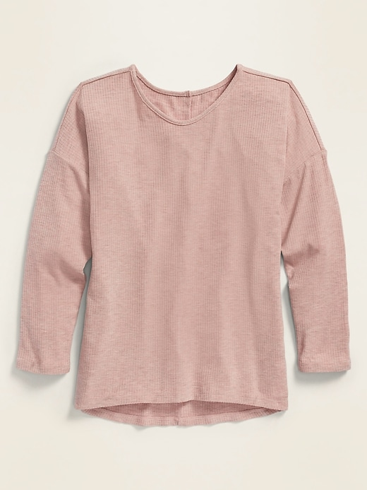 Luxe Rib-Knit Voop-Neck Top for Girls