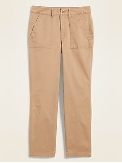 High-Waisted Utility Ankle Chino Pants for Women