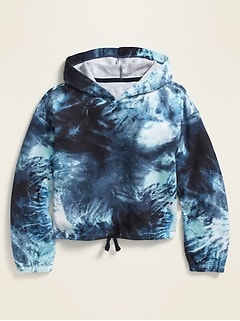 Printed French Terry Cinched-Hem Hoodie for Girls