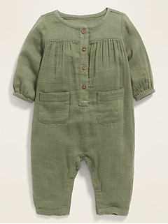 Long-Sleeve Utility Jumpsuit for Baby