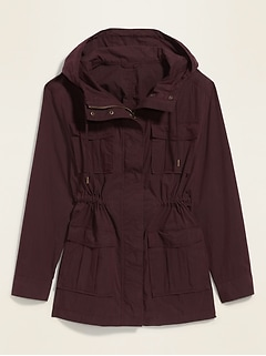 Long Hooded Utility Jacket for Women