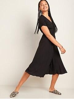 Fit & Flare Tie-Waist Wrap Midi Dress for Women