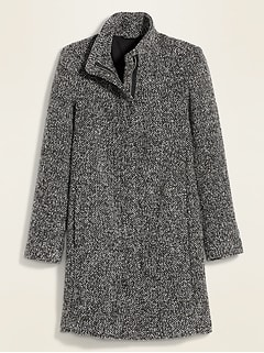 Oversized Soft-Brushed Textured Funnel-Neck Coat for Women