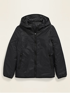 Reversible Sherpa-Lined Hooded Zip Jacket for Boys