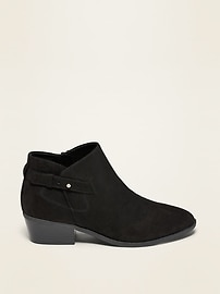 Faux-Suede Side-Buckle Ankle Booties for Women