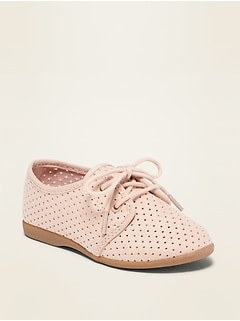 Perforated Faux-Suede Oxford Shoes for Toddler Girls