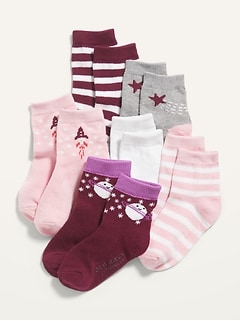 Printed Crew Socks 6-Pack for Toddler Girls