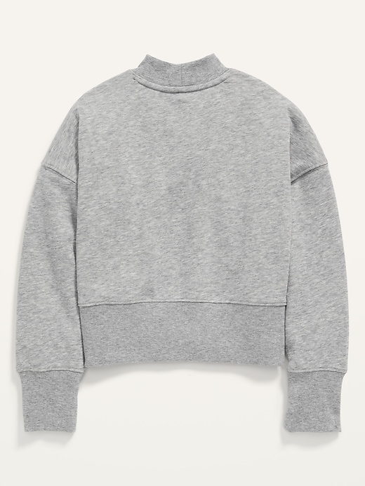 Oversized Mock-Neck Cropped Sweatshirt for Girls