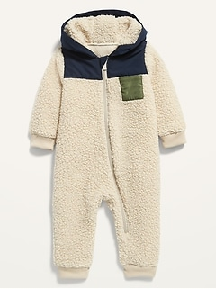 Color-Blocked Sherpa One-Piece for Baby