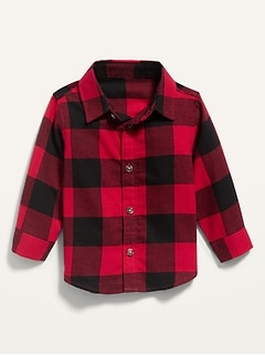 Unisex Long-Sleeve Plaid Shirt for Baby