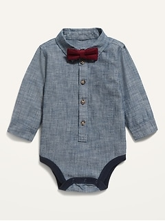Long-Sleeve Chambray Bodysuit & Twill Bow-Tie Set for Baby