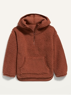 Cozy Sherpa Half-Zip Hoodie for Girls