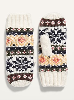 Go-Warm Fair Isle Sweater-Knit Mittens for Women