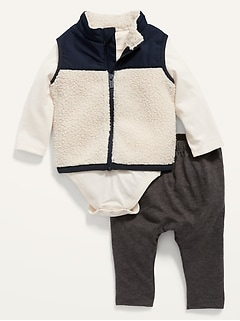 Sherpa Vest, Bodysuit & Pants 3-Piece Set for Baby