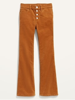 High-Waisted Button-Fly Flare Corduroy Pants for Girls