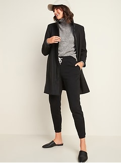 Relaxed Soft-Brushed Funnel-Neck Coat for Women