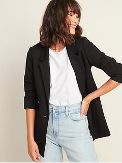 Ponte-Knit Boyfriend Blazer for Women