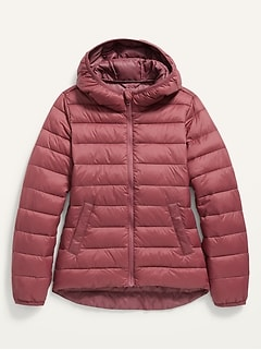 Hooded Narrow-Channel Puffer Jacket for Girls