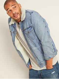 Sherpa-Lined Medium-Wash Jean Jacket for Men