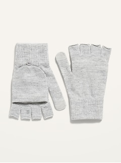 Convertible Text-Friendly Sweater-Knit Flip-Top Gloves for Women