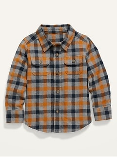 Plaid Flannel Pocket Shirt for Toddler Boys