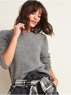 Cozy Textured Crew-Neck Sweater for Women