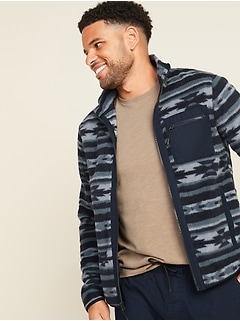 Patterned Sherpa Zip-Front Jacket for Men