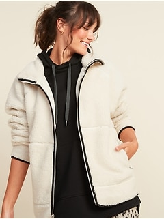 Cozy Teddy Sherpa Long Zip Jacket for Women