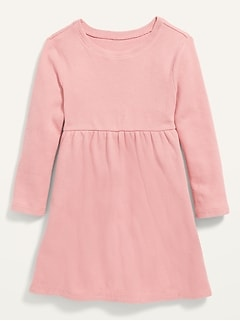 Thermal-Knit Long-Sleeve T-Shirt Dress for Toddler Girls