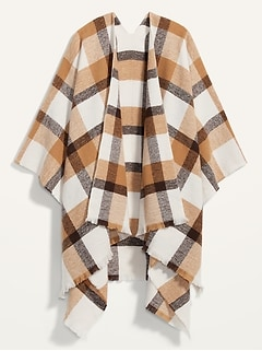 Cozy Flannel Open-Front Poncho for Women
