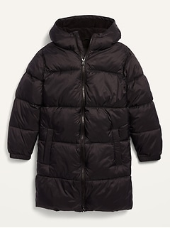 Frost-Free Hooded Long Nylon Puffer Jacket for Boys