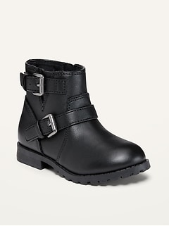 Faux-Leather Moto Boots for Toddler Girls
