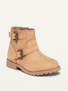 Faux-Suede Buckled Moto Boots for Toddler Girls