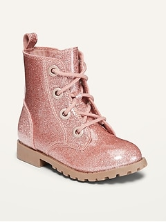 Pink Glitter Lace-Up Combat Boots for Toddler Girls