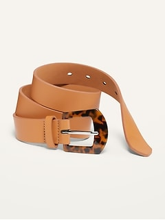 Faux-Leather Tortoiseshell-Buckle Belt for Women