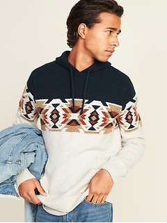 Cozy Print-Block Pullover Sweater Hoodie for Men