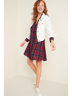 Plaid Twill Swing Shirt Dress for Women