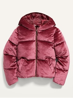 Frost-Free Velvet Puffer Jacket for Girls