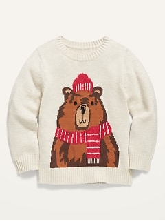 Bear-Critter Crew-Neck Sweater for Toddler Boys