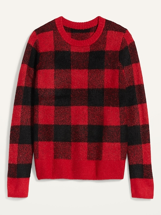 Cozy Plaid Crew-Neck Sweater for Women