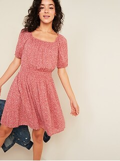 Waist-Defined Printed Puff-Sleeve Dress for Women