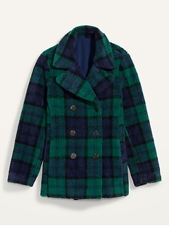 Cozy Plaid Sherpa Peacoat for Women