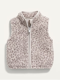 Unisex Leopard-Print Sherpa Vest for Baby