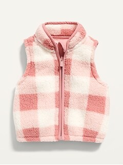 Unisex Pink Plaid Sherpa Vest for Baby